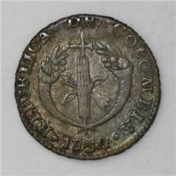 Bogota, Colombia, 1/2 real, 1834RS.