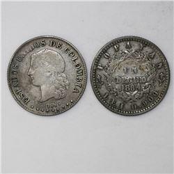 Lot of two Colombia coins: Popayan, 1 decimo, 1864, 0.900 fineness; Medellin, 10 centavos, 1885, 0.8