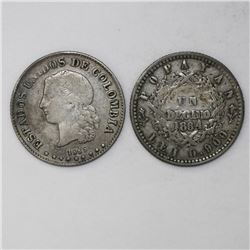 Lot of two Colombia coins: Popayan, 1 decimo, 1864, 0.900 fineness; Medellin, 10 centavos, 1885, 0.8