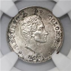 Colombia, 10 centavos, 1911, NGC MS 63.