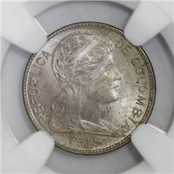 Colombia, copper-nickel 1 centavo, 1919, larger second 9, NGC MS 63, ex-Roberts (stated on label).
