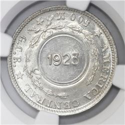 Costa Rica, 1 colon, 1923 counterstamp (Type VIII) on a Costa Rica 50 centimos 1917M, NGC MS 62, c/s