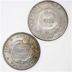 Lot of two Costa Rica, 1 colon, 1923 counterstamp (Type VIII) on Costa Rica 50 centavos: 1890/80GW a