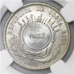 Costa Rica, 50 centimos, 1923 counterstamp (Type VIII) on a Costa Rico 25 centavos 1893-Heaton, NGC