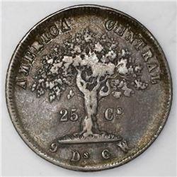 Costa Rica, 25 centavos, 1864GW, small denomination.