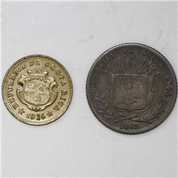 Lot of two Costa Rica minors: 10 centavos, 1865GW; 5 centimos, 1936.