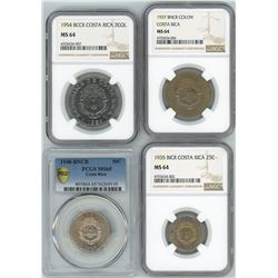 Lot of four Costa Rica coins: 2 colones, 1954, NGC MS 64; 1 colon, 1937, NGC MS 64; 50 centimos, 194