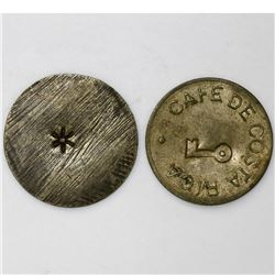 Lot of two Costa Rican brass coffee tokens, 1890s.
