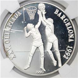 Cuba, proof 10 pesos, 1990, Barcelona Olympics / Basketball, NGC PF 67 Ultra Cameo.