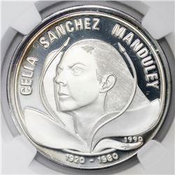 Cuba, proof 10 pesos, 1990, Celia Sanchez Manduley, NGC PF 67 Ultra Cameo.