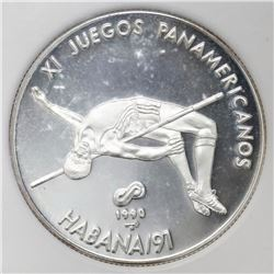Cuba, proof piefort 10 pesos, 1990+1991 Pan-American Games Havana / High Jump, NGC PF 67 Ultra Cameo
