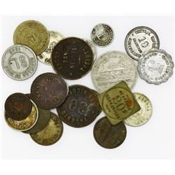 Lot of 20 Cuban tokens, various metals, 1800s-1900s.