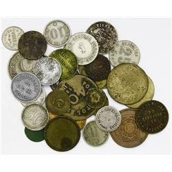 Lot of 30 Cuban tokens, various metals, mostly 1900s.