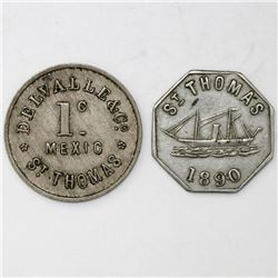 Lot of two St. Thomas, Danish West Indies, copper-nickel merchant tokens, ca. 1880 and 1890.