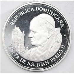 Dominican Republic, proof 25 pesos, 1979, Visit of Pope John Paul II.