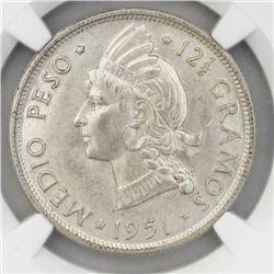 Dominican Republic (struck at the Philadelphia Mint), 1/2 peso, 1951, NGC MS 63.