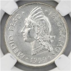 Dominican Republic (struck at the Philadelphia Mint), 1/2 peso, 1959, NGC MS 65.