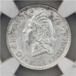 Dominican Republic (struck at the Philadelphia Mint), 10 centavos, 1944, NGC MS 64.