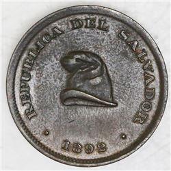 El Salvador, bronze 1 centavo, 1892, AU 58 BN.