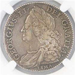 Great Britain (London, England), half crown, George II, 1746, with Lima below bust, NGC XF 40.