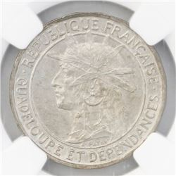 Guadeloupe, 1 franc, 1921, NGC MS 63.