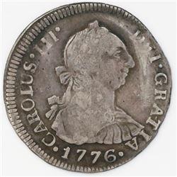 Guatemala, bust 2 reales, Charles III, 1776P.