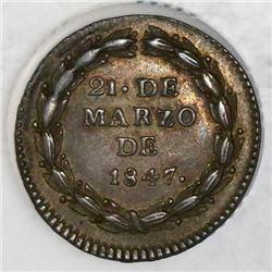 Guatemala, silver 1R-sized proclamation medal, 1847, Carrera, NGC AU 55.