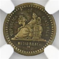 Guatemala, brass trial strike or pattern 1/2 real, 1890, NGC XF 45, ex-Richard Stuart (stated on lab