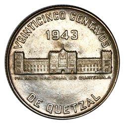 Guatemala, 25 centavos, 1943, NGC MS 63.