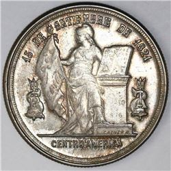 Honduras, 1 peso, 1884, NGC AU details / cleaned.