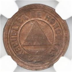 Honduras, bronze 1 centavo, 1902, large 0, NGC MS 64 RB, ex-Whittier (stated on label).
