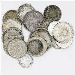 Lot of twenty Latin American silver coins, 1826-1965.
