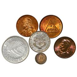 Lot of six higher grade Latin American coins, 1904-37, various metals (silver, copper and copper-nic