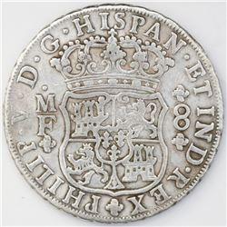 Mexico City, Mexico, pillar 8 reales, Philip V, 1745MF.