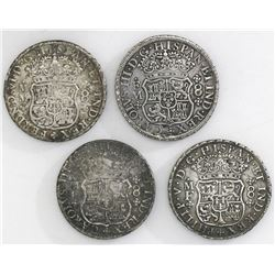 Lot of four Mexico City, Mexico, pillar 8 reales, various periods: 1740MF, 1754MM, 1767MF and 1771FM
