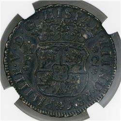 Mexico City, Mexico, pillar 2 reales, Philip V, 1737/3MF, rare, NGC AU details / environmental damag