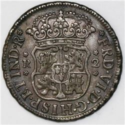 Mexico City, Mexico, pillar 2 reales, Ferdinand VI, 1751/41M, ex-Bir.