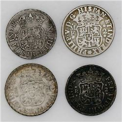 Lot of four Mexico City, Mexico, pillar 2 reales, various kings and dates: 1737MF, 1758M, 1759M and