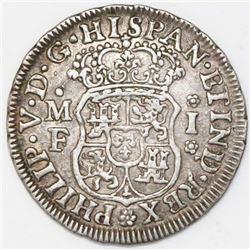 Mexico City, Mexico, pillar 1 real, Philip V, 1736MF.