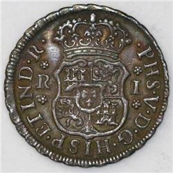 Mexico City, Mexico, pillar 1 real, Philip V, 1742M.
