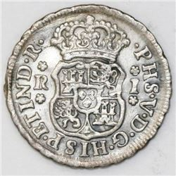 Mexico City, Mexico, pillar 1 real, Philip V, 1743/2(?)M.