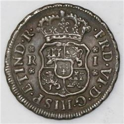 Mexico City, Mexico, pillar 1 real, Ferdinand VI, 1747M.