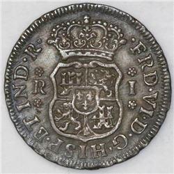 Mexico City, Mexico, pillar 1 real, Ferdinand VI, 1756M.