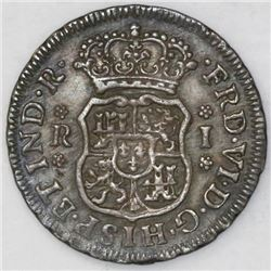 Mexico City, Mexico, pillar 1 real, Ferdinand VI, 1756M.