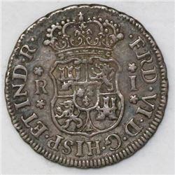 Mexico City, Mexico, pillar 1 real, Ferdinand VI, 1759M.