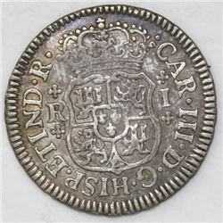 Mexico City, Mexico, pillar 1 real, Charles III, 1763M, plain crosses above and below R and I.
