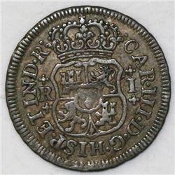 Mexico City, Mexico, pillar 1 real, Charles III, 1764M.