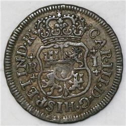 Mexico City, Mexico, pillar 1 real, Charles III, 1764M.