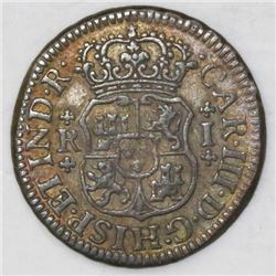 Mexico City, Mexico, pillar 1 real, Charles III, 1766M.
