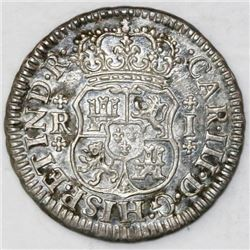 Mexico City, Mexico, pillar 1 real, Charles III, 1768M, broken o in mintmark.